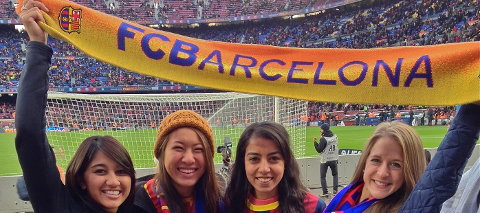 barcelona students at futbol game