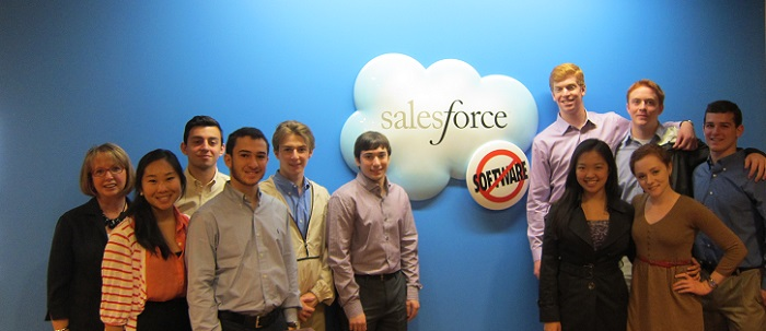 students at salesforce meeting