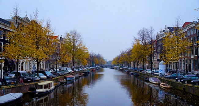 A row of houses along a canal.