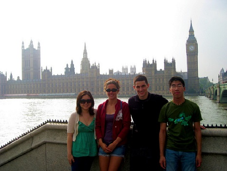 Students by Big Ben.